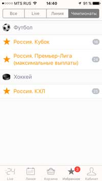 "Меню ""чемпионаты"""