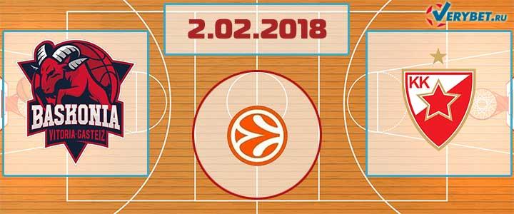 Баскония – Црвена Звезда 2 февраля 2018 прогноз
