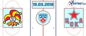 Йокерит – ЦСКА 19 марта 2018 прогноз