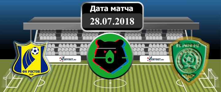 Ростов – Ахмат 28 июля 2018 прогноз