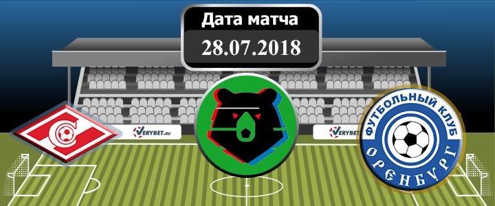 Спартак – Оренбург 28 июля 2018 прогноз