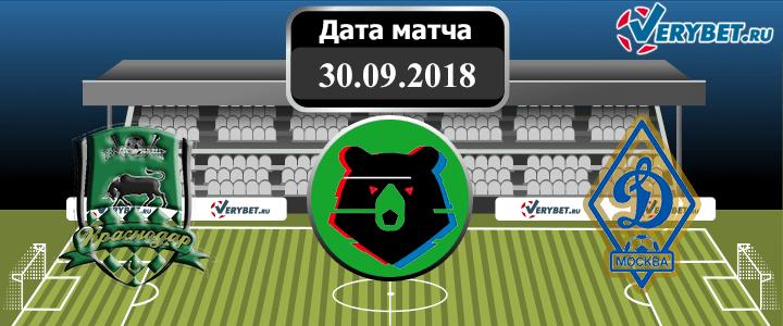Краснодар – Динамо 30 сентября 2018 прогноз