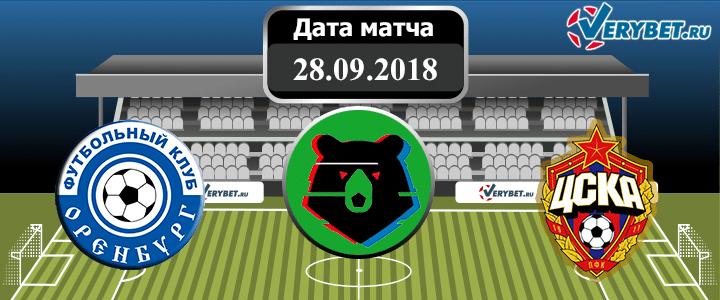 Оренбург – ЦСКА 28 сентября 2018 прогноз
