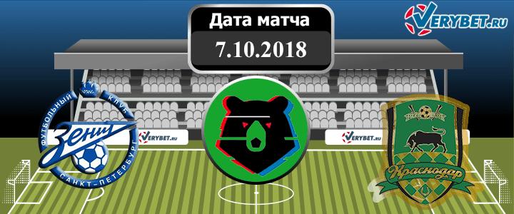 Зенит - Краснодар 7 октября 2018 прогноз