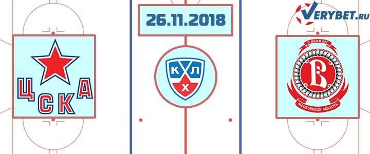 ЦСКА – Витязь 26 ноября 2018 прогноз