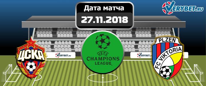 ЦСКА – Виктория Пльзень 27 ноября 2018 прогноз