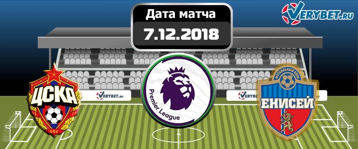 ЦСКА – Енисей 7 декабря 2018 прогноз