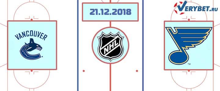 Ванкувер — Сент-Луис 21 декабря 2018 прогноз