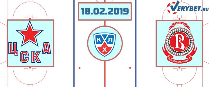 ЦСКА – Витязь 18 февраля 2019 прогноз