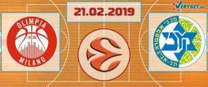 Милано – Маккаби Тель-Авив 21 февраля 2019 прогноз