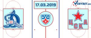 Динамо Москва – ЦСКА 17 марта 2019 прогноз