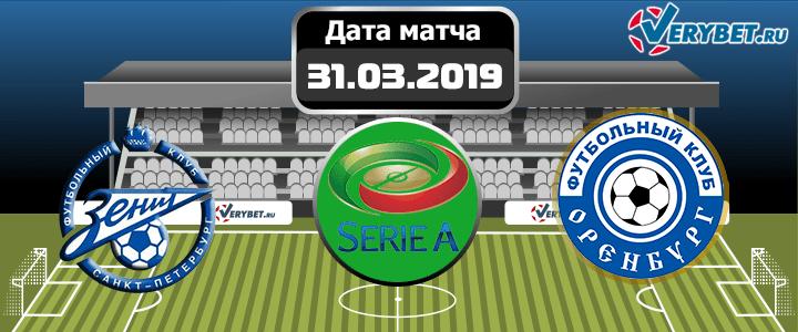 Зенит – Оренбург 31 марта 2019 прогноз