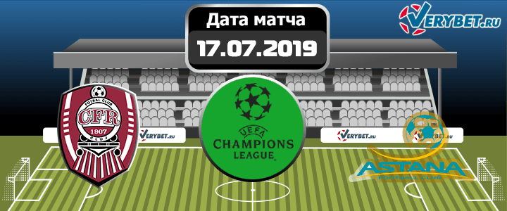 ЧФР Клуж — Астана 17 июля 2019 прогноз