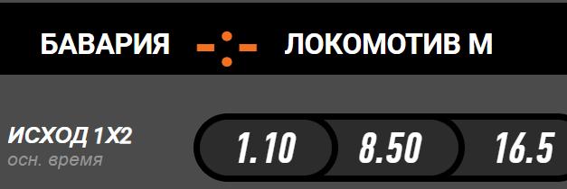 Коэффициенты на матч Бавария - Локомотив